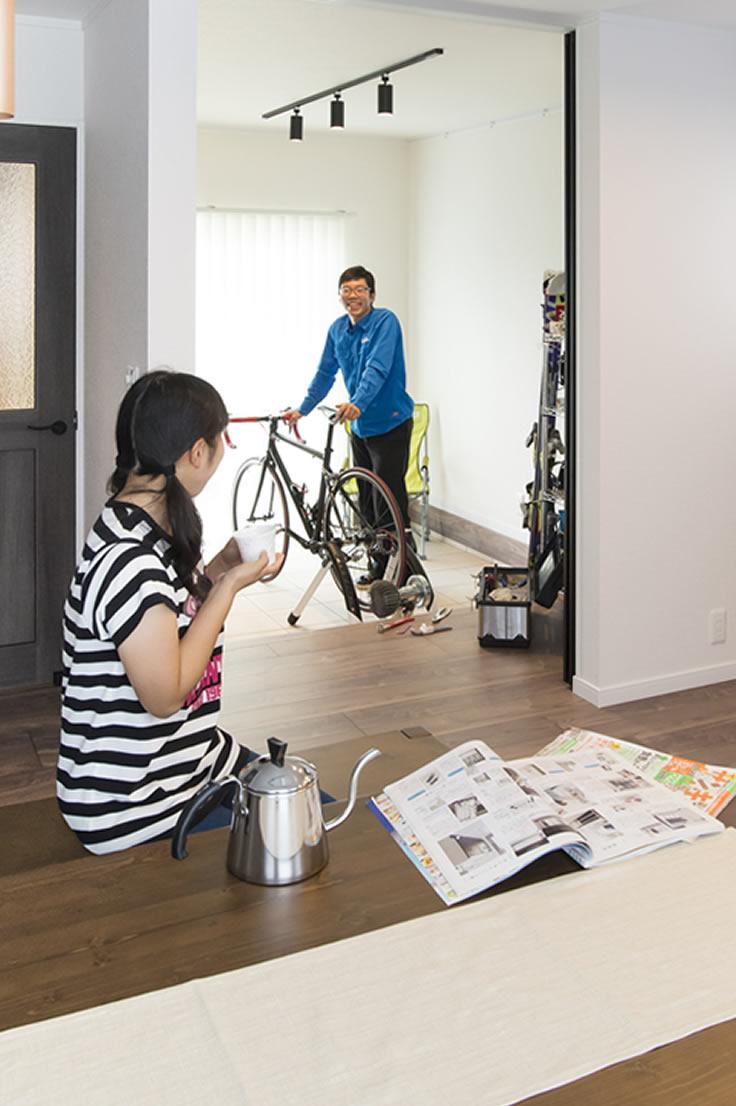 長野の実例・土間でロードバイクを楽しめる家